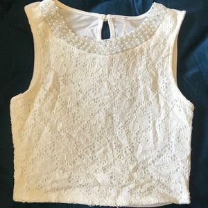 Lace and Pearl crop top
